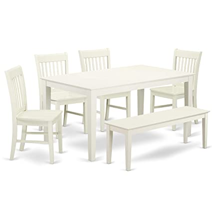 East West Furniture Cano6 Lwh W Capri Set Linen White
