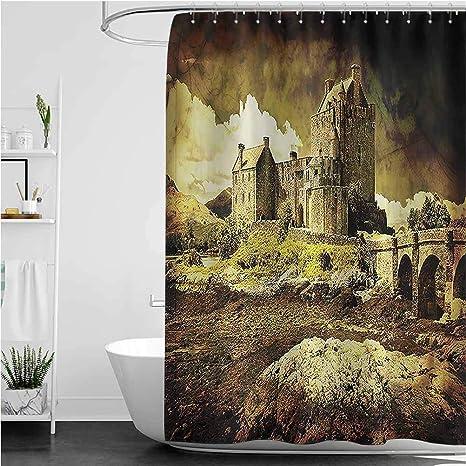 Medieval Shower Curtain Old Scottish Castle Print for Bathroom