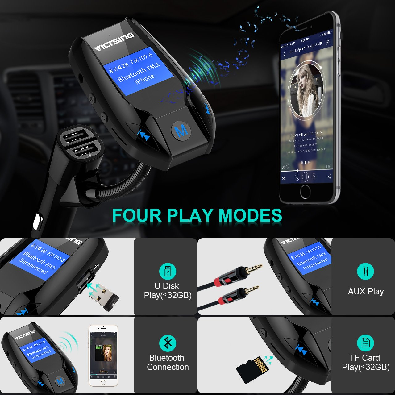 Amazon.com: VicTsing FM35 Bluetooth FM Transmitter/w 3 USB Ports, Wireless in-Car FM Transmitter Radio Adapter Car Speaker,Car Kit, MP3 Player Supports Aux ...