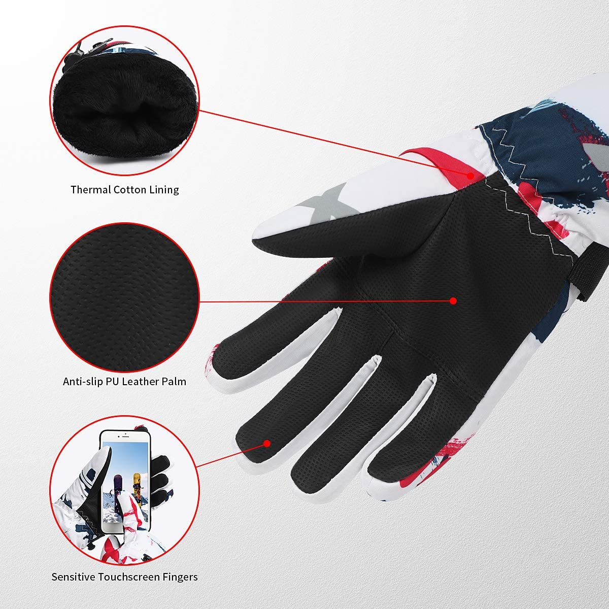 Suneed Ski Gloves Waterproof Winter Gloves Touchscreen Cold Weather Snow Gloves
