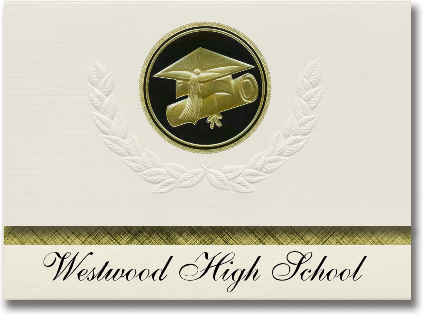 Signature Announcements Westwood High School (Gillette, WY) Graduation Announcements, Presidential style, Elite package of 25 Cap & Diploma Seal Black & Gold