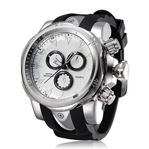 Astarsport Mens Unique Fashion Casual Business watches Analog Quartz Waterproof Sport Large Dial(2.28in) Big heavy Silicone Band Wrist Watch for men silver