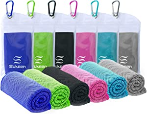 "Sukeen [4 Pack] Cooling Towel (40""x12""),Ice Towel,Soft Breathable Chilly Towel,Microfiber Towel for Yoga,Sport,Running,Gym,Workout,Camping,Fitness,Workout & More Activities"