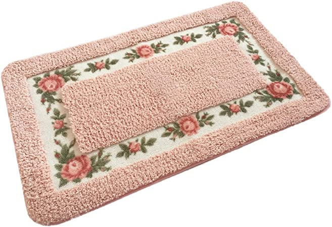 Ukeler Luxury Shaggy Pink Rose Bath Rugs Washable Non Slip Bathroom Mat For Home And Hotel 17 7 X29 5 Home Kitchen Amazon Com