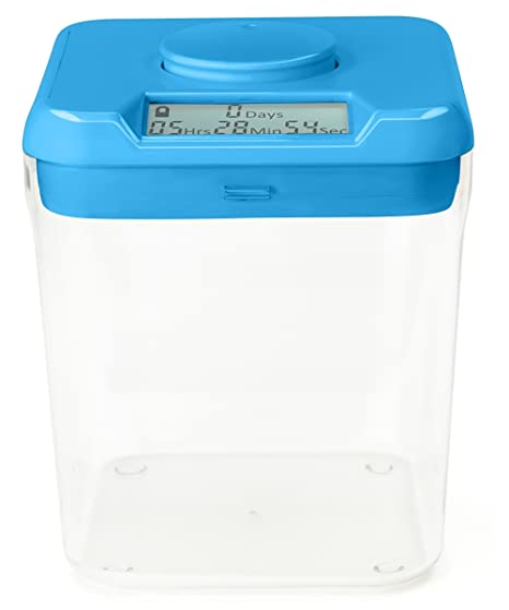 Amazing Kitchen Safe: Time Locking Container (Blue Lid + Clear Base)   5.5u0026quot;