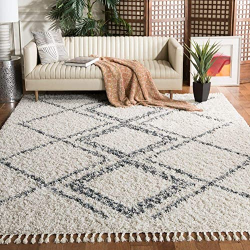 Safavieh Pro Luxe Shag Collection PLX432A Moroccan Boho Tassel 2.4-inch Thick Area Rug