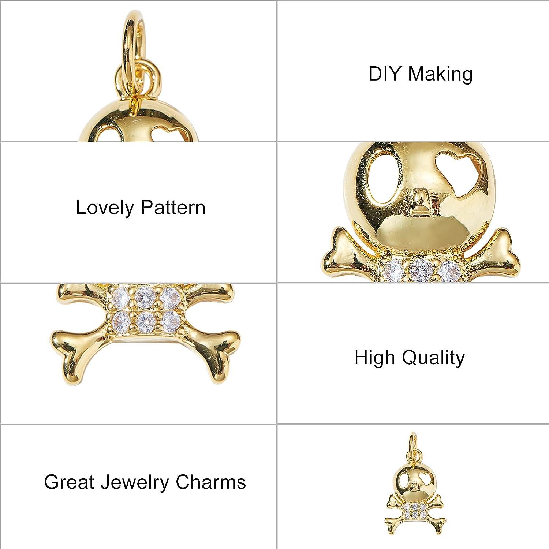 pave Crystal Rhinestone cham pendant,DIY Jewelry Necklace Making PD719 5Pcs Metal brass skeleton skull Charm Pendant