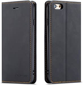 QLTYPRI iPhone 6 Plus 6S Plus Case, Premium PU Leather Cover TPU Bumper with Card Holder Kickstand Hidden Magnetic Adsorption Shockproof Flip Wallet Case for iPhone 6 Plus 6S Plus - Black