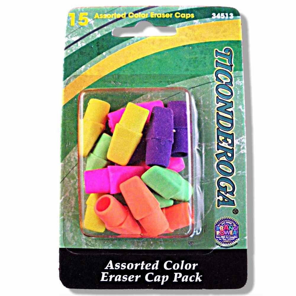 Dixon Ticonderoga Pencil Top Erasers Caps (Pack of 15)