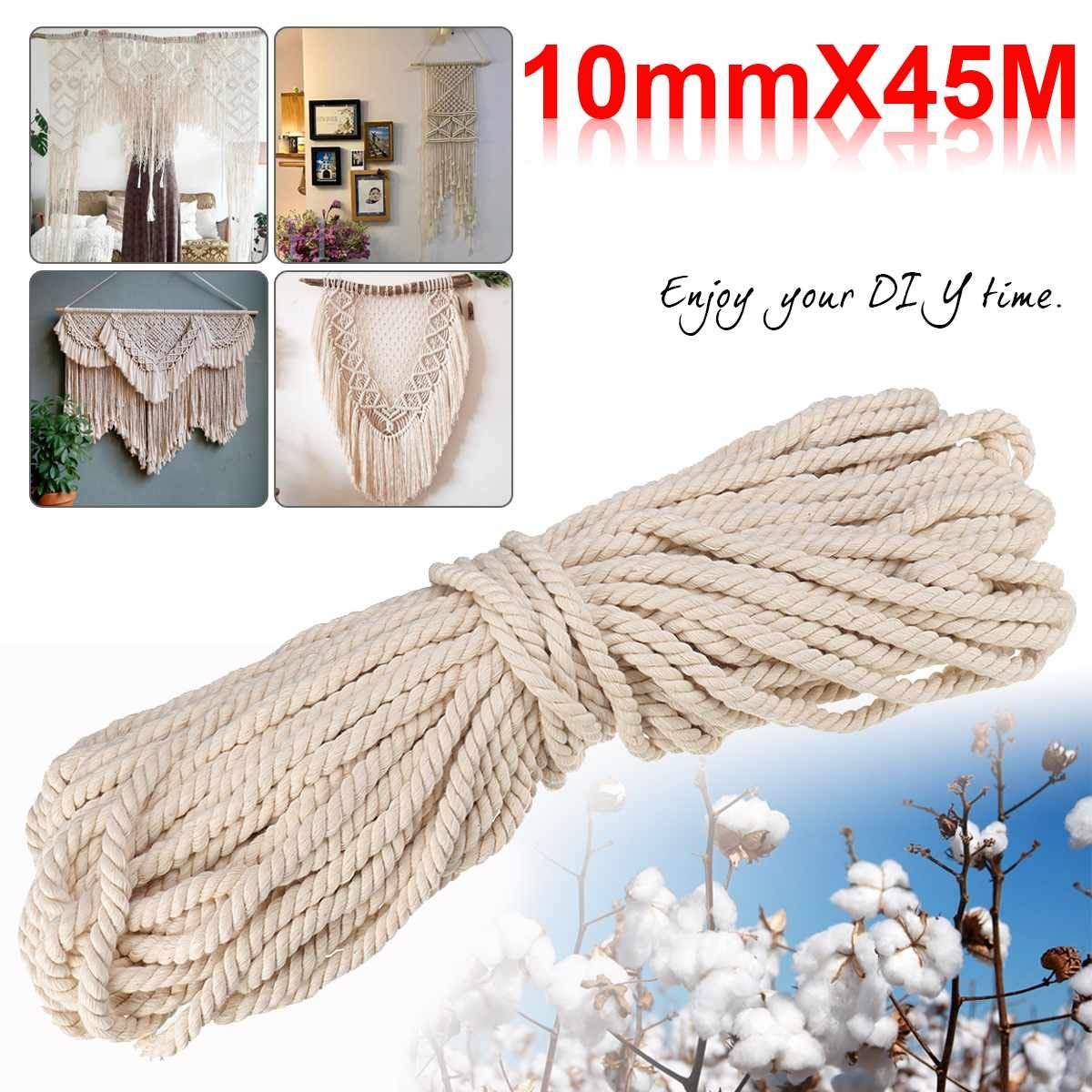 FINCOS Macrame Rope Natural Beige 10mm 45m Twisted Cord for Handmade Enthusiasts for Artisan DIY Hand Craft Cords Pure Cotton by FINCOS (Image #5)
