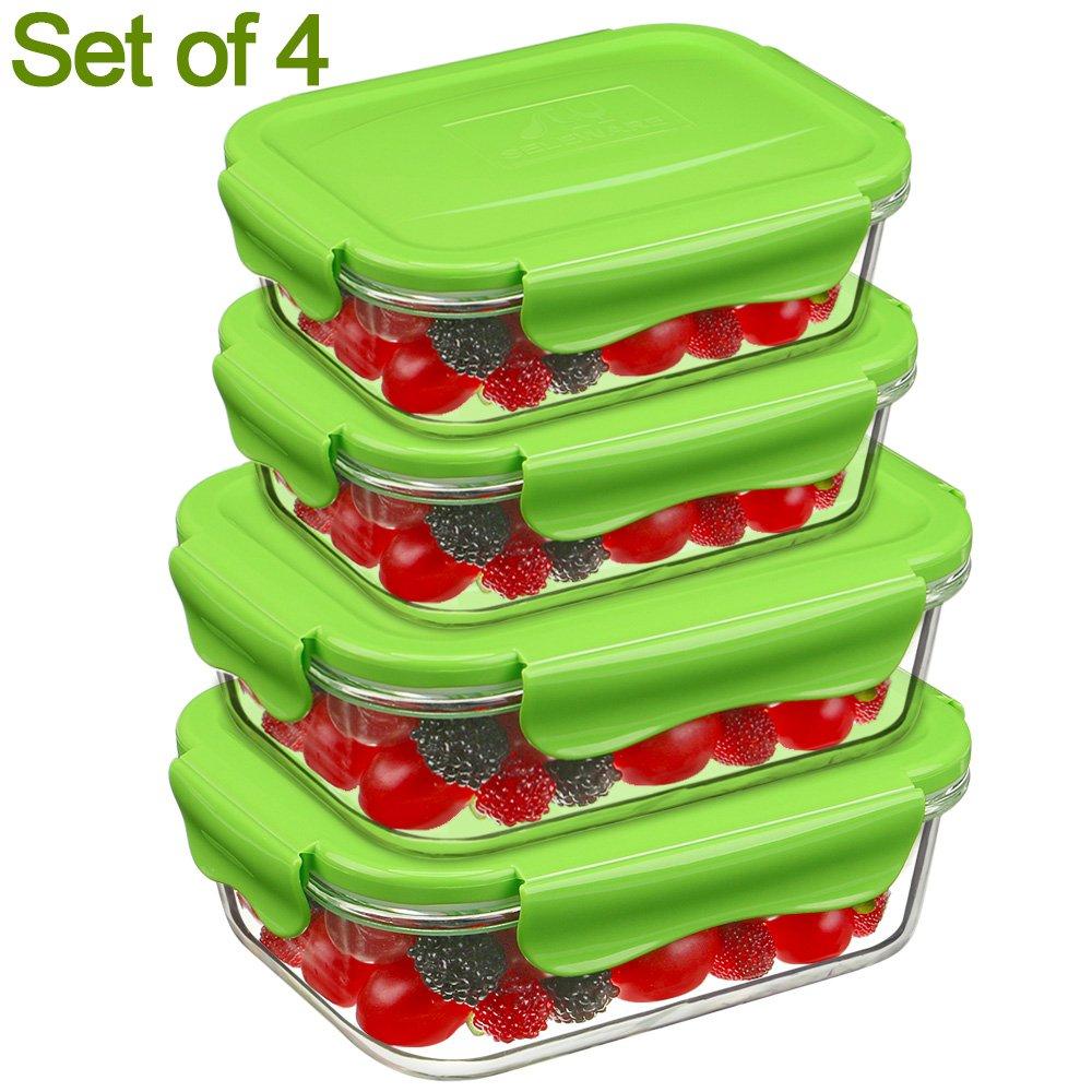Contenitori per Alimenti, Vetro Lunch Box Set Ermetico, Impilabile, 100% privo di BPA, a prova di perdita, adatto congelatore, forno, microonde e Lavastoviglie, ideali per la conservazione di alimenti (2 pezzi, 0,32 / 0,80 Liter, Piazza, Verde ) King Joy