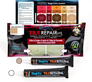 MagicEzy Tile Repairezy Fix Cracked and Chipped Ceramic Tiles, Bathtubs, Showers, Sinks Fast - Tile Repair Filler - Porcelain, Granite, Marble, Stone (Beige and White Kit)