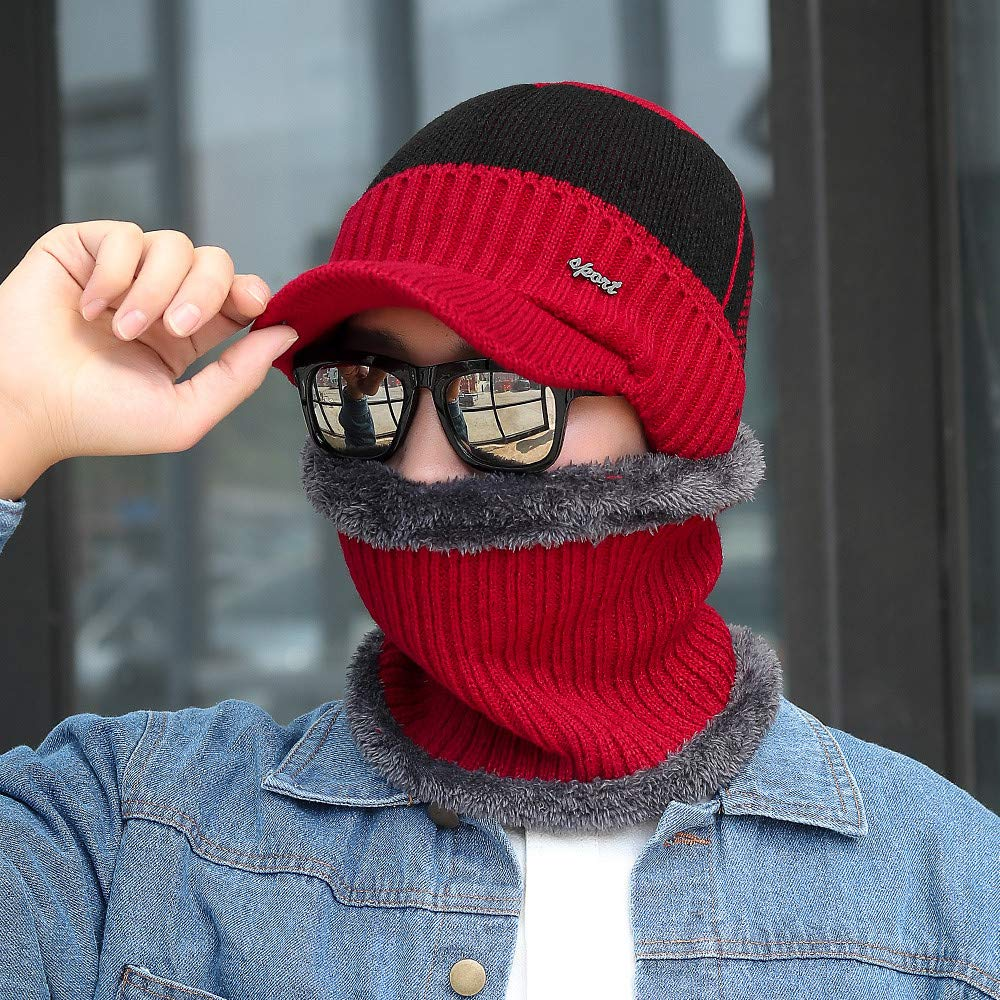 Winsummer Winter Warm Wool Visor Beanie for Men Women Knit Fleece Lining Newsboy Cap Hat with Brim Scarf Sets