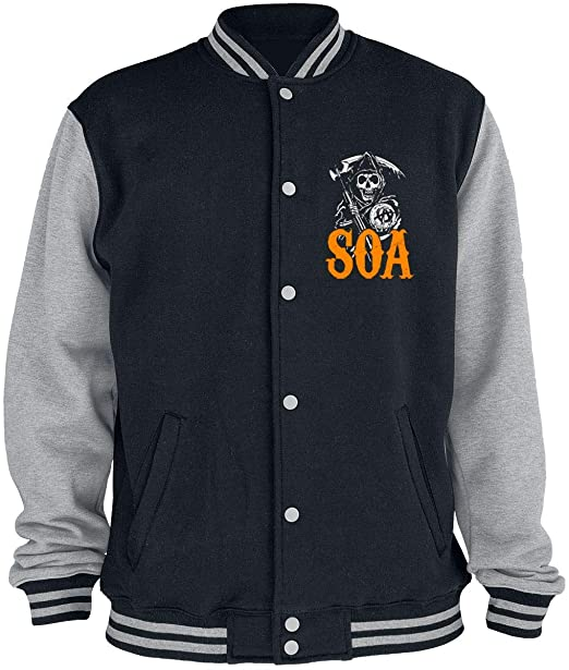 Sons of Anarchy Reaper - Orange Chaqueta Universitaria Jaspeado Negro/Gris: Amazon.es: Ropa y accesorios