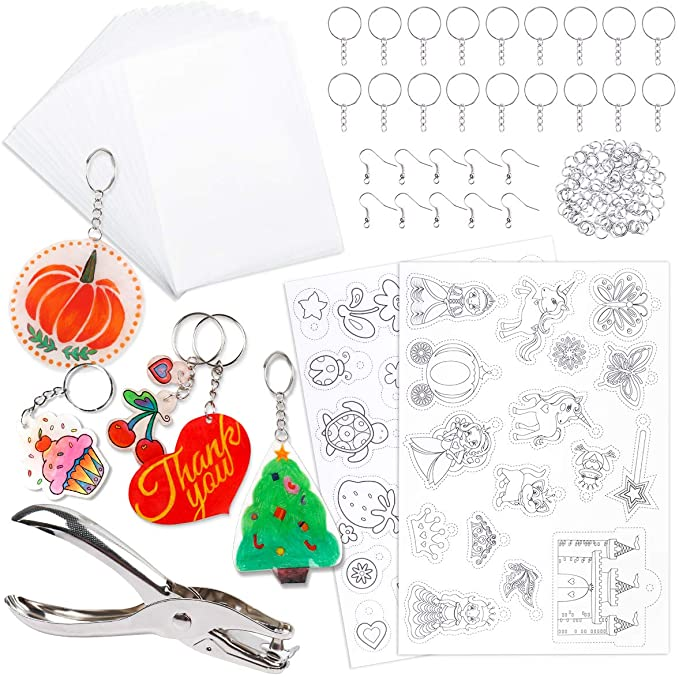 XBAO 145 Pieces Heat Shrink Plastic Sheets Set Include 20 PCS Blank Shrinky Art Film Paper 7.9 x 5.7 inch with 125 PCS Keychains Accessories for DIY Pendant Decoration and Creative Craft