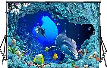 7x7FT Vinyl Photo Backdrops,Dolphin,Underwater Wildlife Photoshoot Props Photo Background Studio Prop