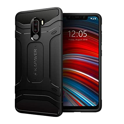 superior quality a6fd6 8f4f4 KAPAVER® Xiaomi Poco F1 Phone Rugged Back Cover Case MIL-STD 810G  Officially Drop Tested Solid Black Shock Proof Slim Armor Patent Design  (Only for ...
