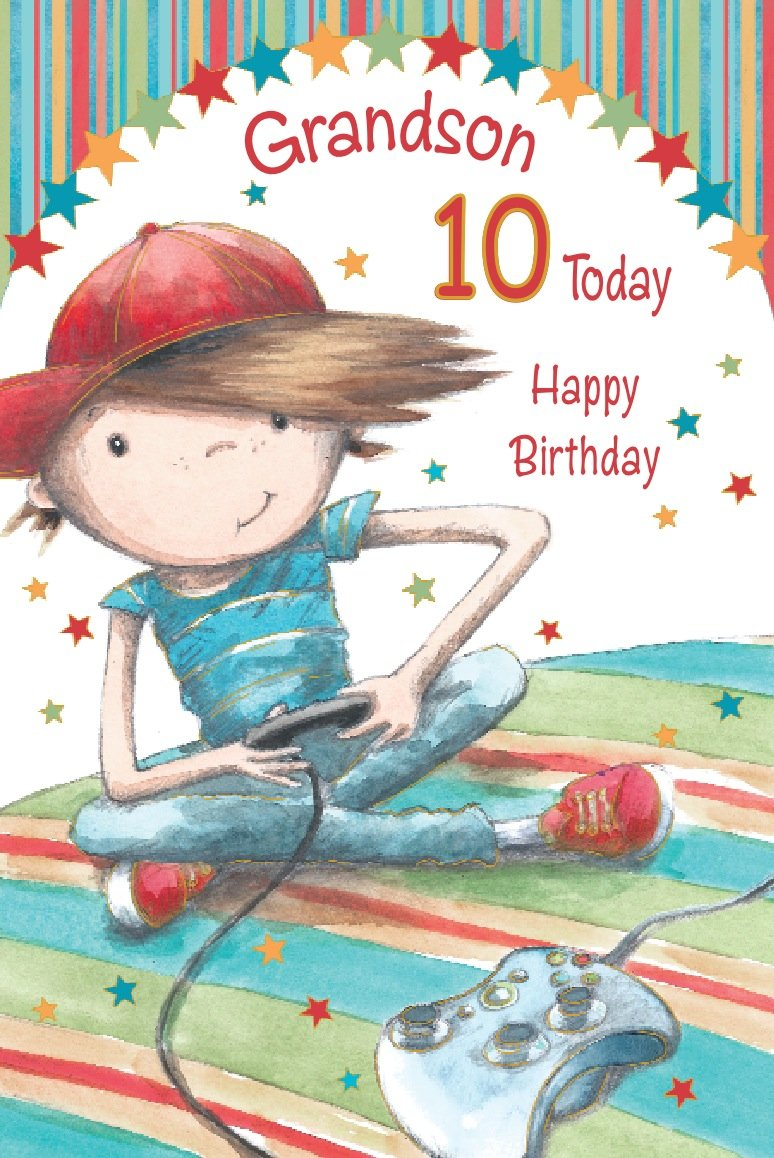 Grandson happy 10th birthday card amazon kitchen home bookmarktalkfo Gallery