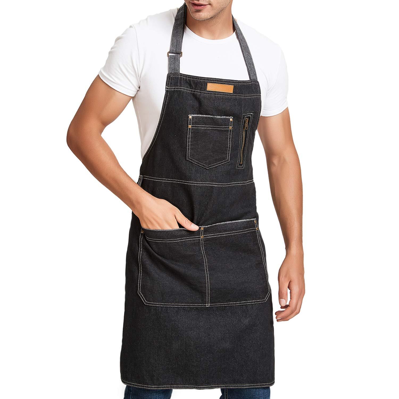 メンズキッチンエプロンwith Large Pockets For BBQシェフ、料理、グリル、調節可能なネックストラップ軽量でデニムエプロン、33