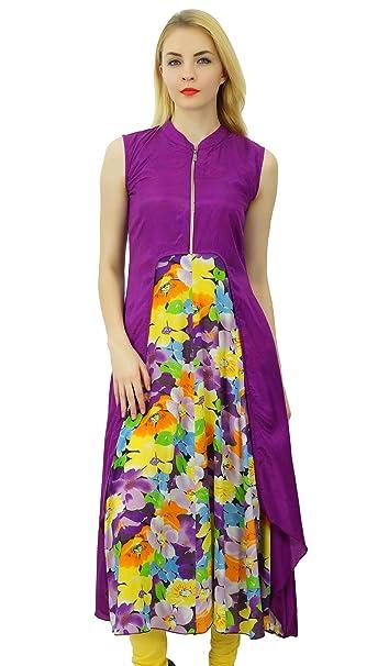 Phagun Mujeres Kurta Impresión Floral del Vestido del diseñador étnico Rayón Kurti Ocasional