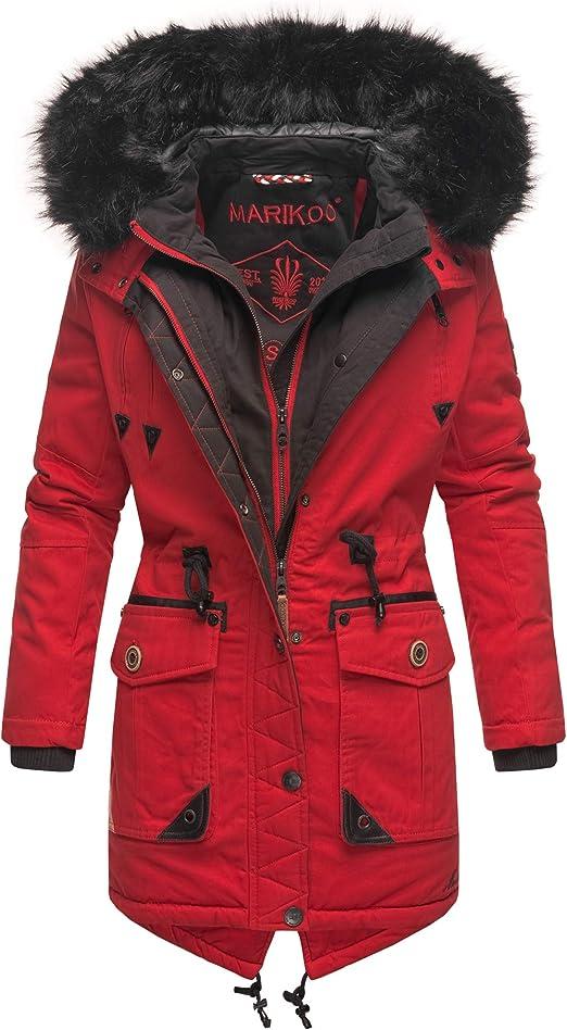 Marikoo Rose Damen Winter Jacke Stepp Mantel Parka Winterjacke warm gefüttert