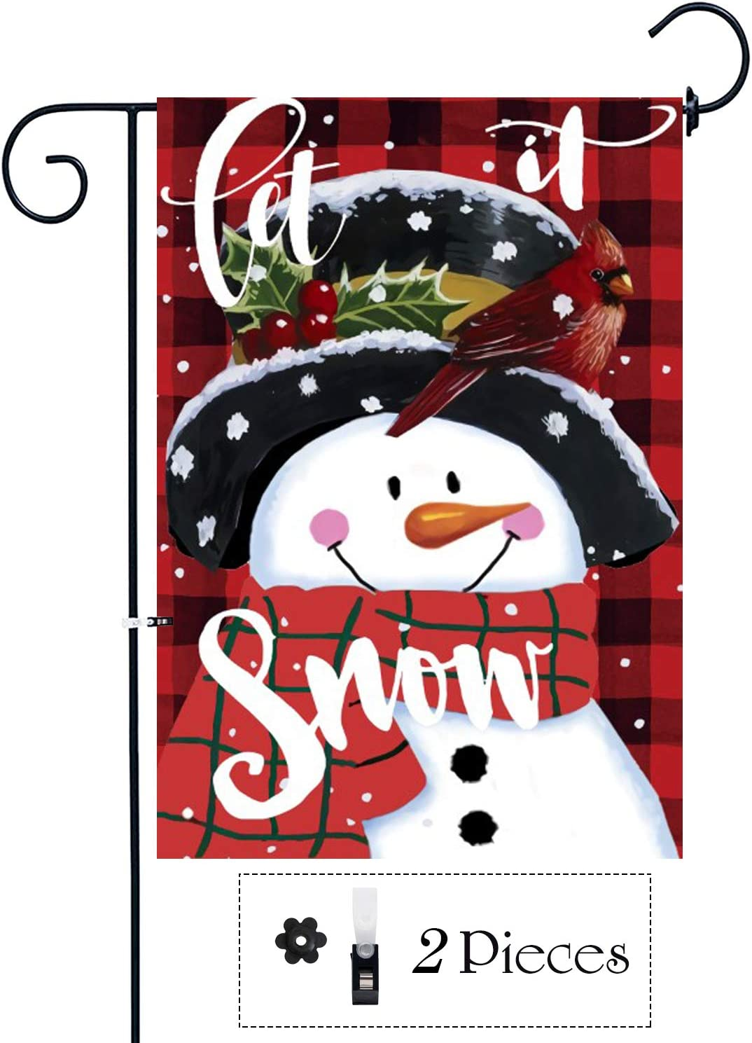 Didida Home Christmas Garden Flag Snowman Let It Snow Yard Decor Flag Decorative Winter Xmas Flag Holiday Farmhouse Outdoor Double Sided Christmas Outside Decoration Banner Yard Sign With Clip Stopper