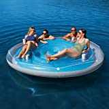 H2OGO! CoolerZ Aqua Blue Island Pool Float with Inflata-Shield Puncture Resistant Vinyl Material, Includes 4 Built-In Cup Holders and All Around Grab Rope