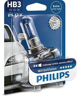 Philips 9005WHVB1 WhiteVision Bombilla para Faros Delanteros de Coches con Efecto Xenón, 3700 K HB3