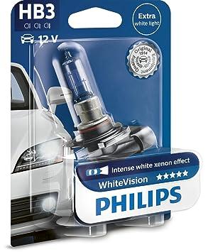 Philips 9005WHVB1 WhiteVision Bombilla para Faros Delanteros de Coches con Efecto Xenón, 3700 K HB3 de 12.8 V, Color Blanco Intenso: Amazon.es: Coche y moto