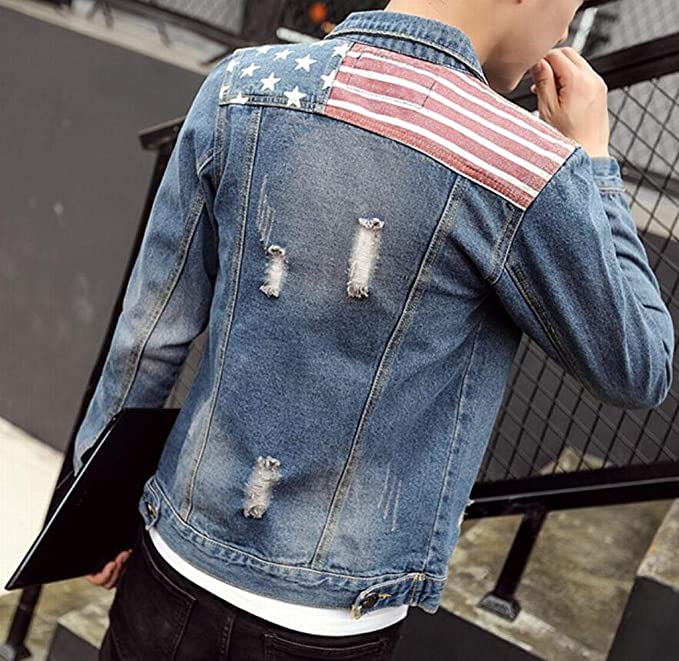 Fubotevic Mens Regular Fit Single Breasted Ripped Washed Lapel Collar American Flag Denim Jacket Jean Coat