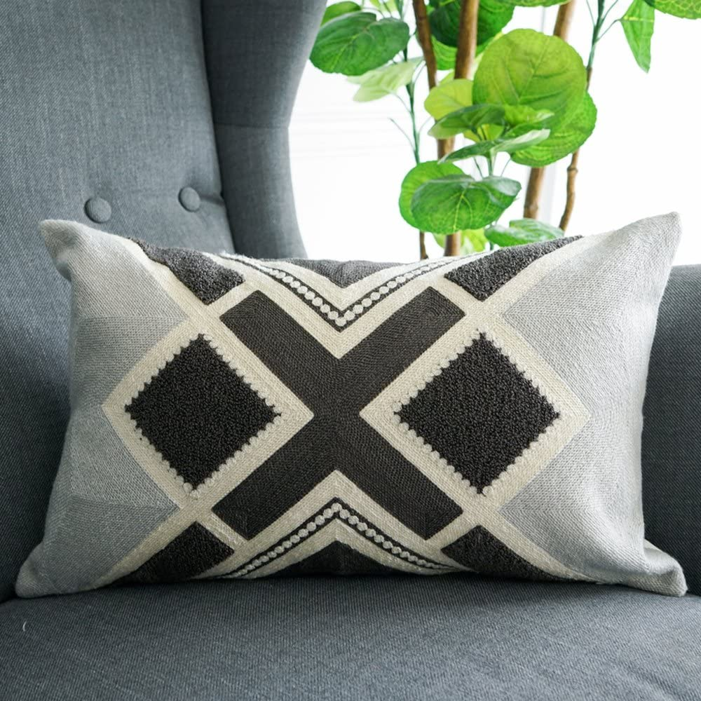 Amazon Com Lananas Small Decorative Oblong Throw Pillow Covers For Couch Bed Sofa Boho Pillow Cushion Cases 12 X 20 Grey Diamond Home Kitchen