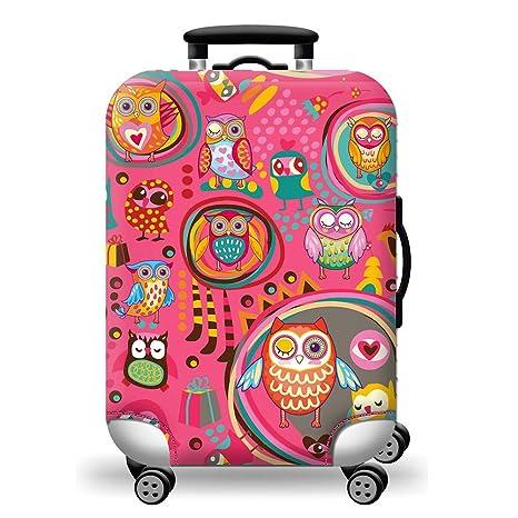 Funda para equipaje de viaje Kuke (diseño de búho, color rosa)