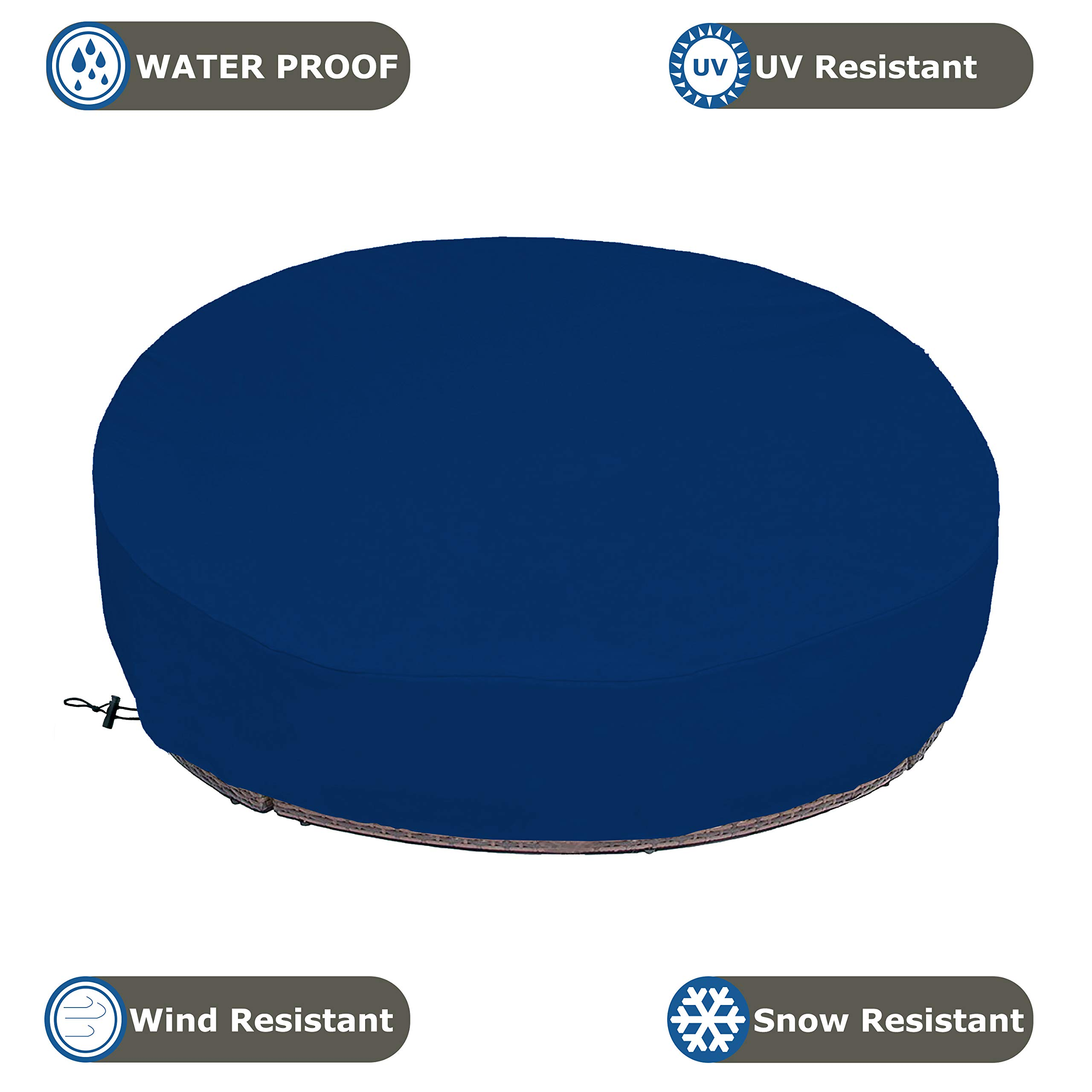 COVERS & ALL Outdoor Daybed Cover 18 Oz Waterproof - 100% UV & Weather Resistant Patio Furniture Cover with Air Pockets and Drawstring for Snug fit (Blue) by COVERS & ALL (Image #4)