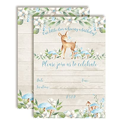 amazon com little deer woodland birthday party invitations for boys