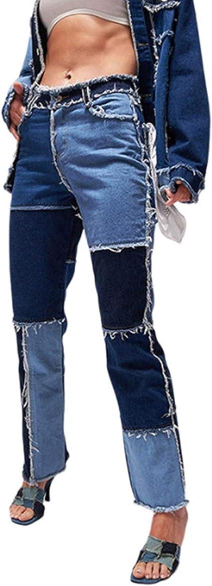 Nfgs Jeans De Retazos De Cintura Alta Para Mujer Pantalones De Mezclilla Acampanados Con Parche De Talla Grande Pantalones Rectos De Moda Pantalones De Tubo Vintage Para Mujeres Vibrantes Amazon Com Mx Deportes Y