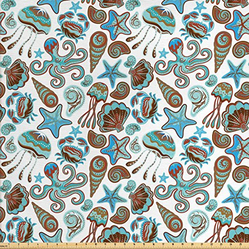 Modern Day Medusa Costume (Crabs Decor Fabric by the Yard by Ambesonne, Illustration of Sea Life Crabs Octopus Shells Starfish and Medusa Print, Decorative Fabric for Upholstery and Home Accents, Turquoise Brown)