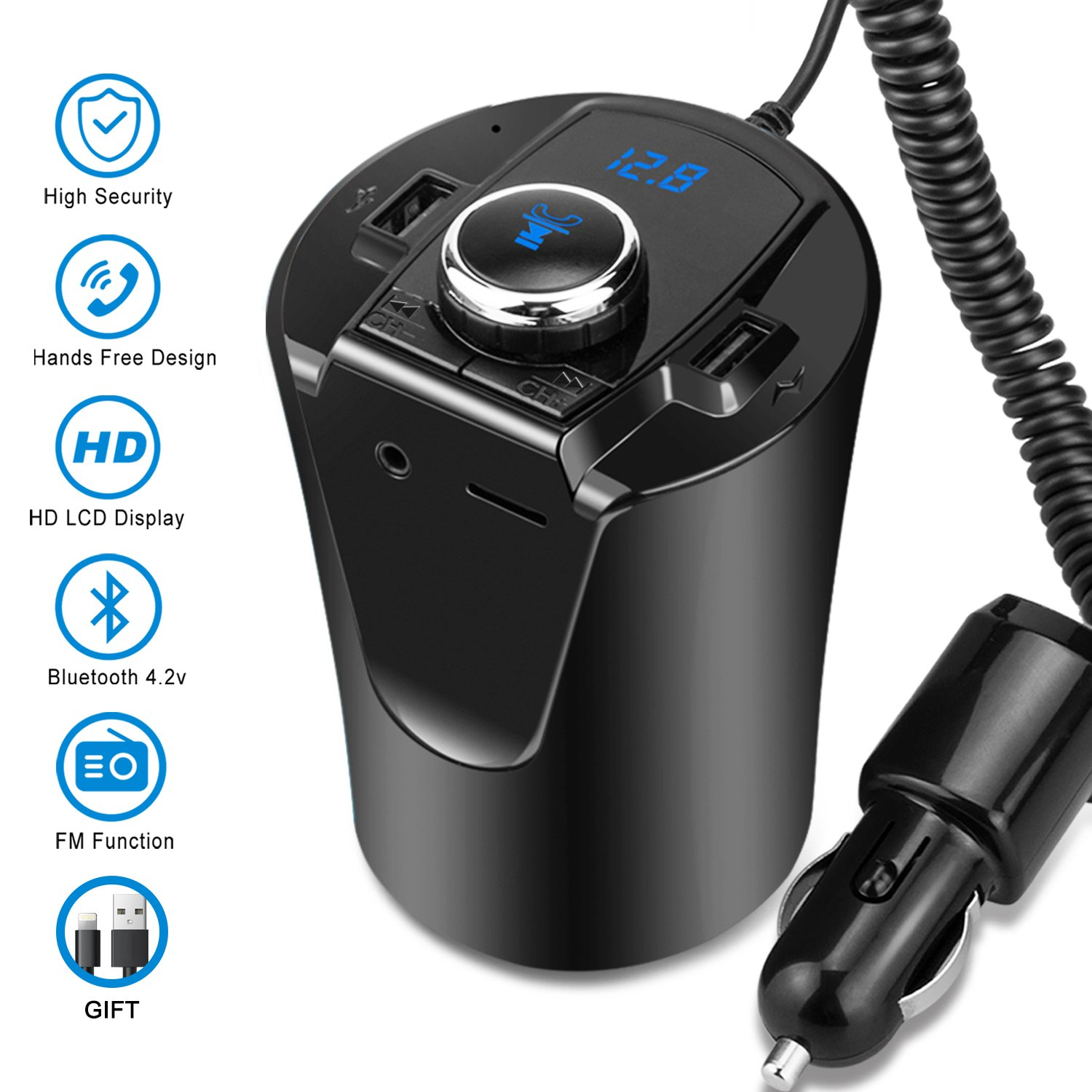 Wireless Bluetooth Fm Transmitter Mp3 Usb Car Radio Aux Circuit Diagram Simple Adapter Receiver For Phone Iphone Charging Hands Free Calling Black Cell