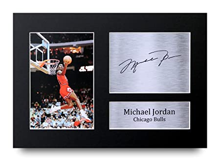 fafd55d96ffc HWC Trading Michael Jordan Gift Signed A4 Printed Autograph Chicago Bulls  Gifts Photo Display