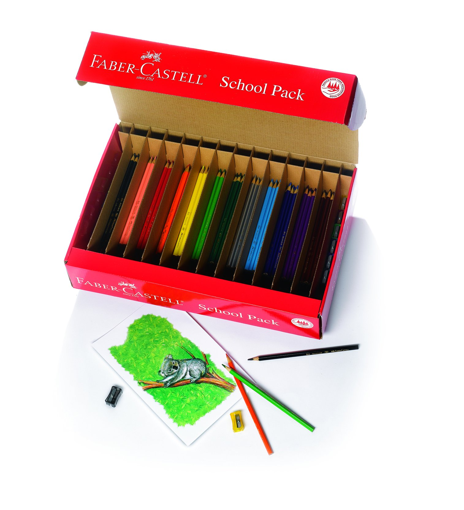 Faber-Castell Triangular Colored EcoPencil School Pack - 240 Pencils (20 Sets of 12 Colors) and 12 Pencil sharpeners