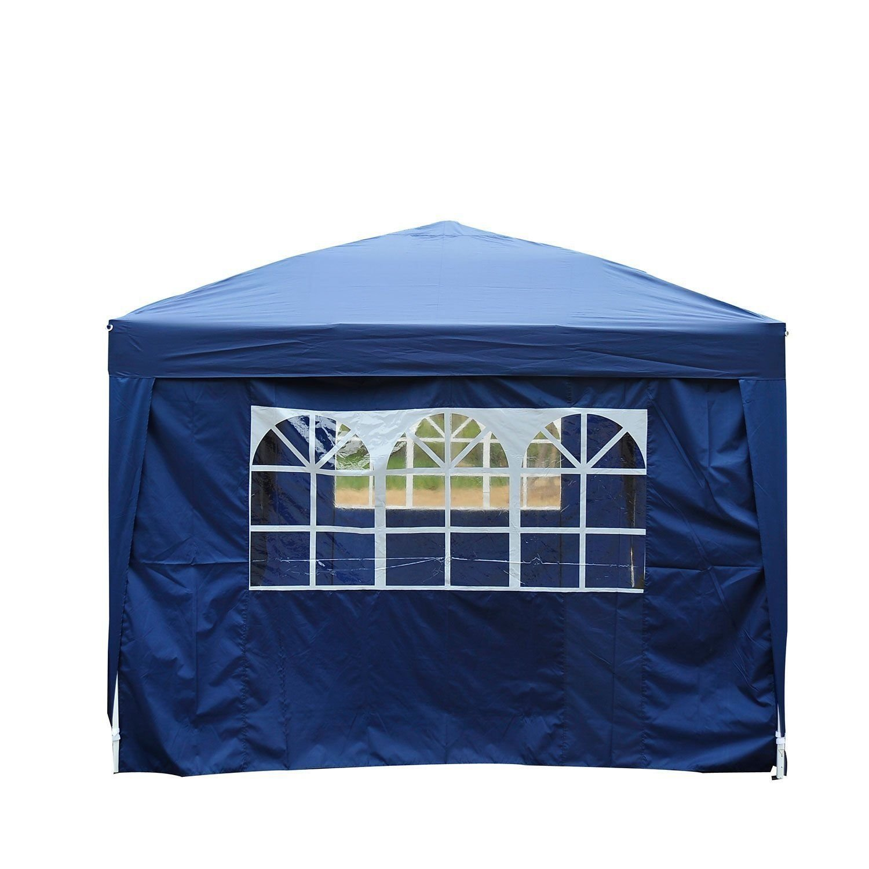 homcom Outsunny Gazebo Pieghevole da Giardino Tenda da Esterno con 6 Pannelli Laterali 6x3x2,55m Blu
