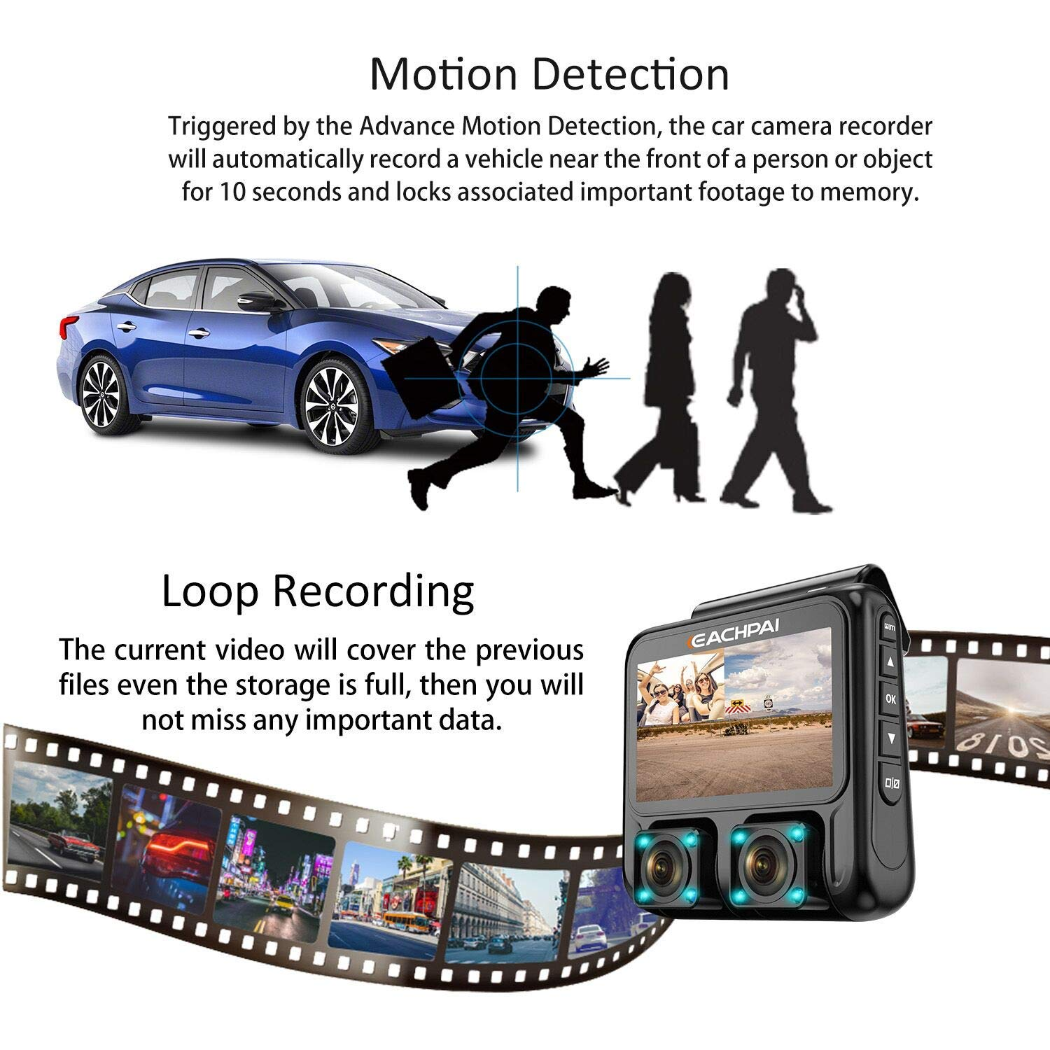 Dual Dash Cam,EACHPAI X100 Pro Dash Camera Front &Inside Lens for Cars/Truck/Taxi 1920X1080P Dashboard with Sony Sensor,IR Night Vision,Super Capacitor,Wide Angle,Loop Record,WDR,GPS,32G Card