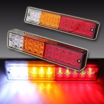 2 Pcs Piloto Trasero 20 LED Luz Trasera Bombilla Faro Trasero Ultra Brillante para Remolque Camiones Coche Marcha Atrás Freno Intermitentes: Amazon.es: ...