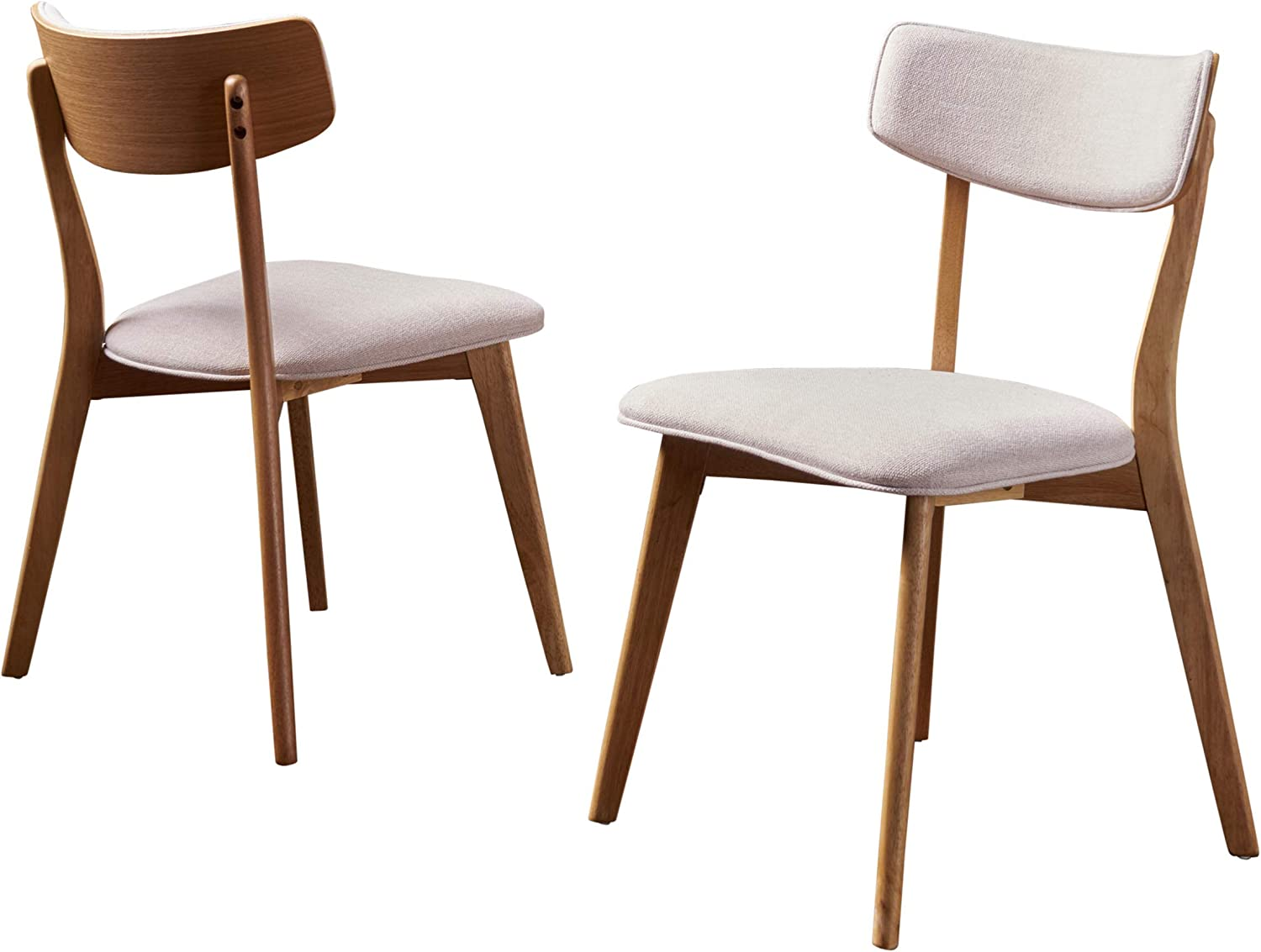 Christopher Knight Home Chazz Mid-Century Fabric Dining Chairs with Natural Oak Finished Frame, 2-Pcs Set, Light Beige / Natural Oak Finish
