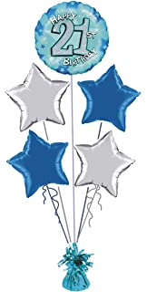 21st BIRTHDAY BLUE SILVER FOIL HELIUM BALLOON DISPLAY IDEAL FOR PARTY
