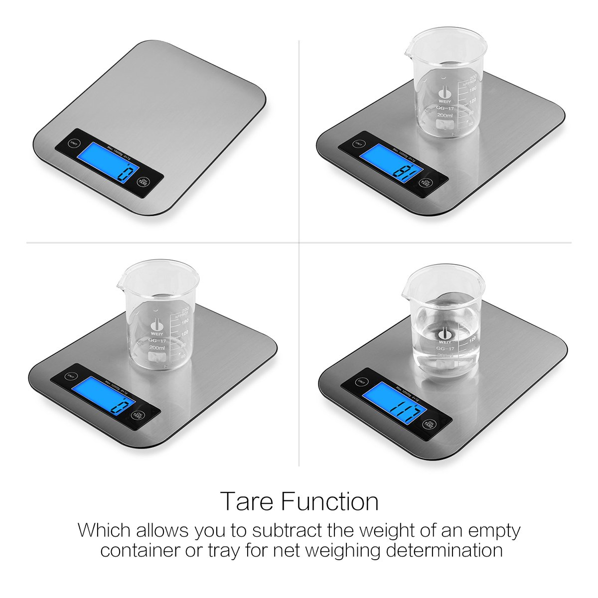 TOBOX Digital Kitchen Scale Food Scales,22Ib 10kg Multifunction Stainless Steel Accuracy with LCD Display and Tare Function for Baking and Cooking