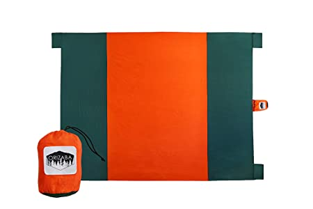 ORIZABA Beach Blanket – huge 9ft x 7ft waterproof multipurpose outdoor mat 100 nylon is sand proof, compact, lightweight, stores easily in bag – sand pockets and stake loops to anchor -Orange Green