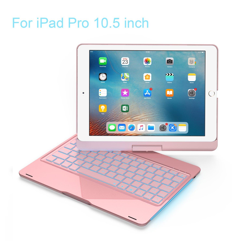 iPad Keyboard Case 10.5 Pro / 360 Degree Rotatable/Aluminum Shell Folio Case / 7 Color Backlit/Bluetooth Keyboard/Auto Sleep-Wake for 2017 Apple iPad Pro 10.5/ (Rose Gold) Azolt F360