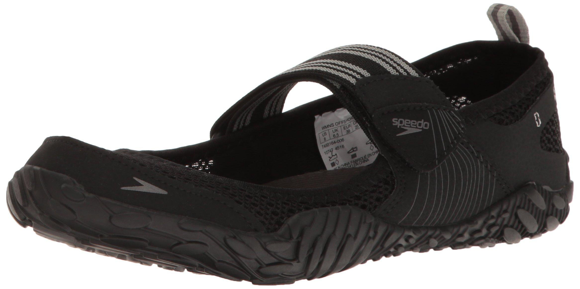 Speedo Women's Offshore Strap Athletic Water Shoe, Black/Black, 6 C/D US