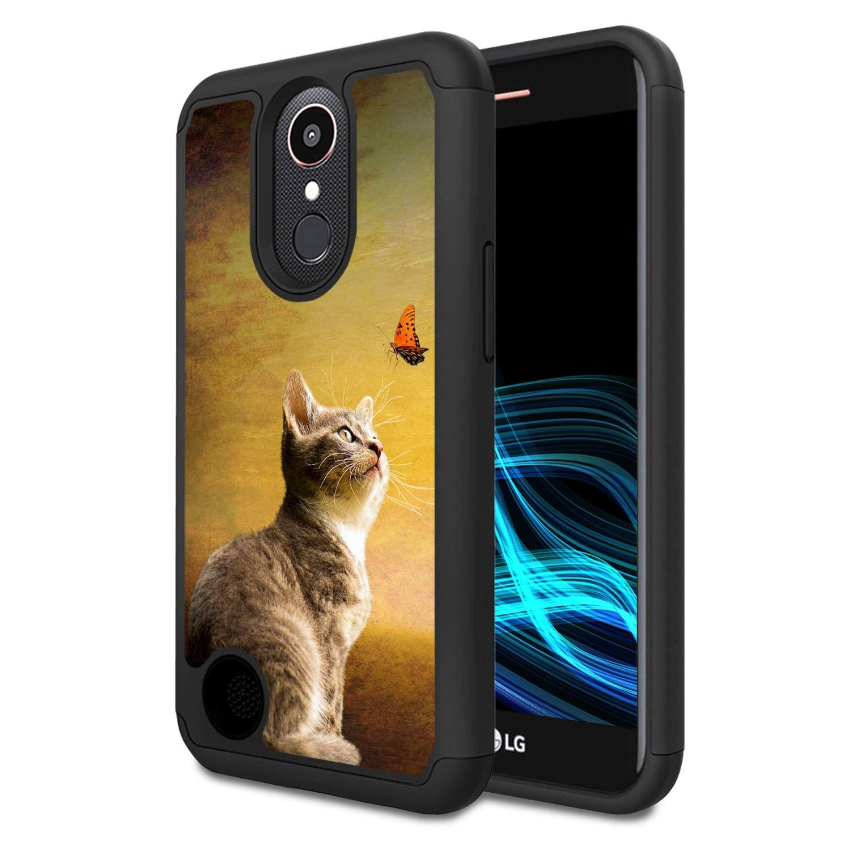 LG K20 V Case, LG K20 Plus Case, LG Harmony Case, LG V5 Case, LG K10 2017 Case, Spsun Dual Layer Hybrid Hard Protector Cover Anti-Drop TPU Bumper for LG K10 2017,Cat and Butterfly