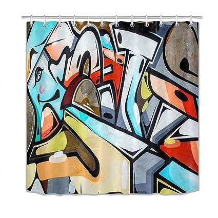 LB Graffiti Pattern Street Art Shower Curtain Set Hipster Modern Abstract Decor